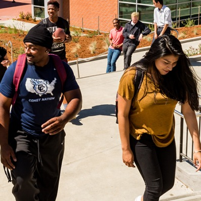 Students walking up steps