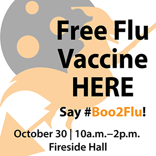 free flu vaccine clinic at contra costa college October 30, 10:00 a.m. in Fireside Hall