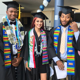 Contra Costa College graduates Lorenzo Petersen, Victoria Lopez and Damion Tingle