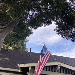 house with American flag and tree
